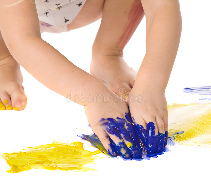 Painting hands stock photos