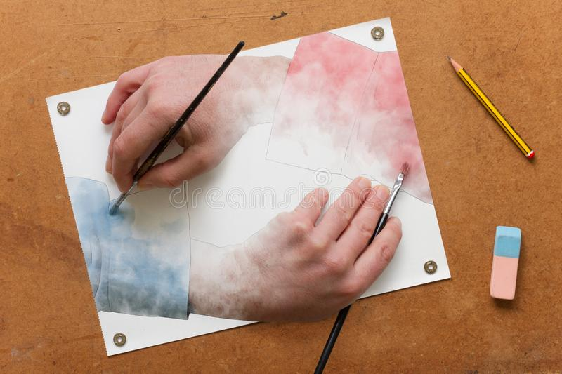 Painting hands vector illustration