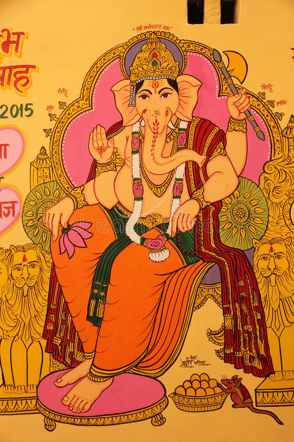 A painting of the hindu god Ganesha. Decorates a wall on one of the building in the city of Jaisalmer, India stock photo