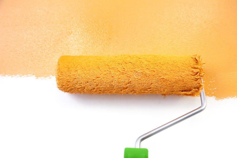 Painting - Home Improvement / isolated on white. Painting - Home Improvement / Orange / isolated on white background stock photo