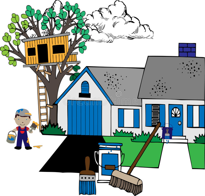 Painting the house. With paints, house, treehouse, painter, supplies illustration royalty free illustration