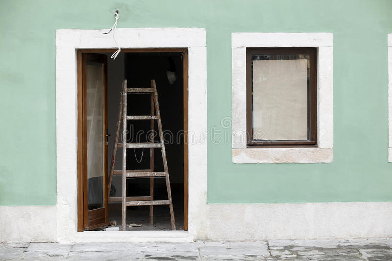 Painting house facade royalty free stock images