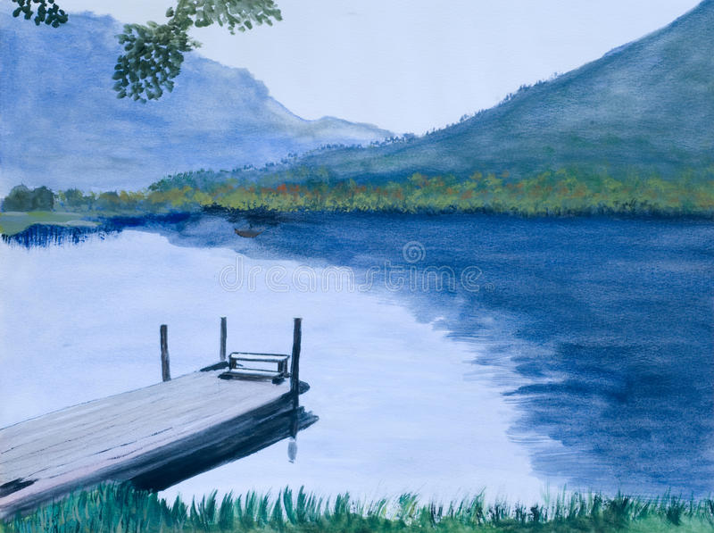 Painting of an Idyllic Lake. Acrylic Painting of an Idyllic Lake in Austria made of a Private Artist vector illustration