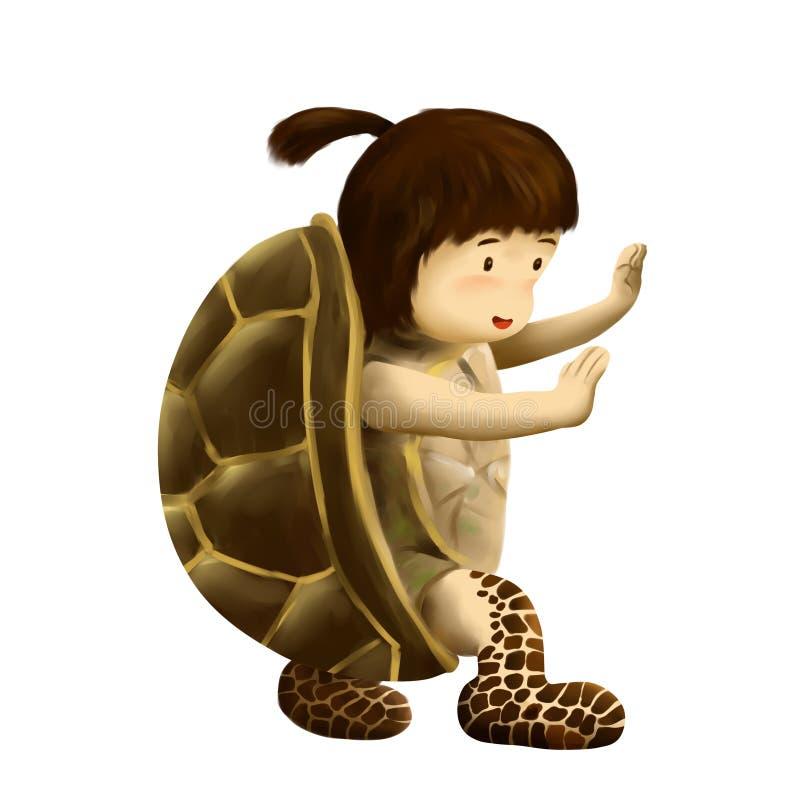 Turtle kid,  kid in turtle costume royalty free illustration