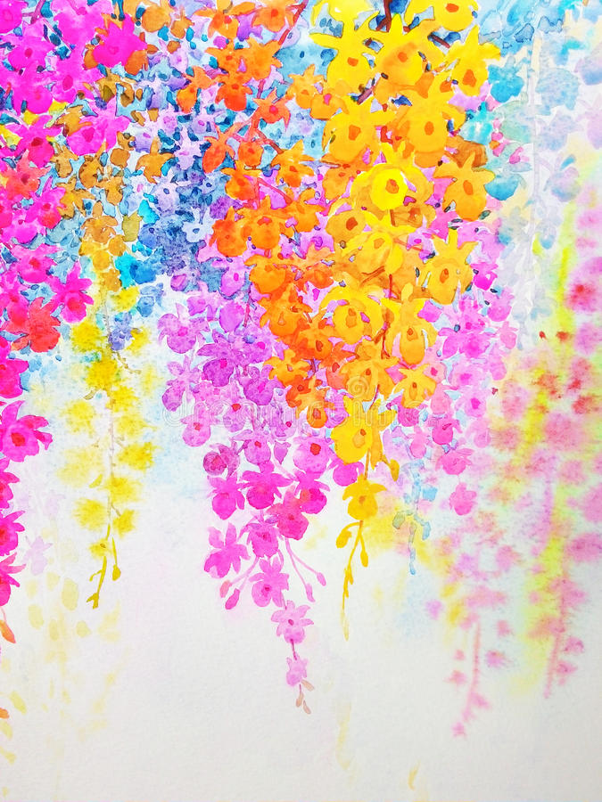 Painting imagination colorful of orchid beauty flowers and emotion. Abstract watercolor original landscape painting imagination colorful of orchid beauty flowers vector illustration