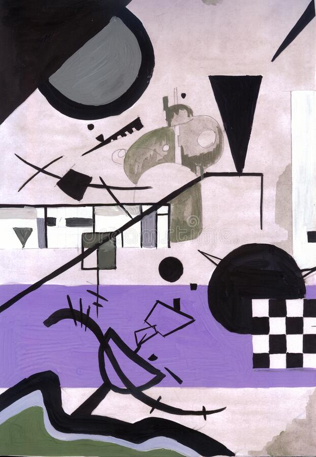 Free Painting In Manner Of Kandinsky Contrasting Sounds Stock Image - 211276601