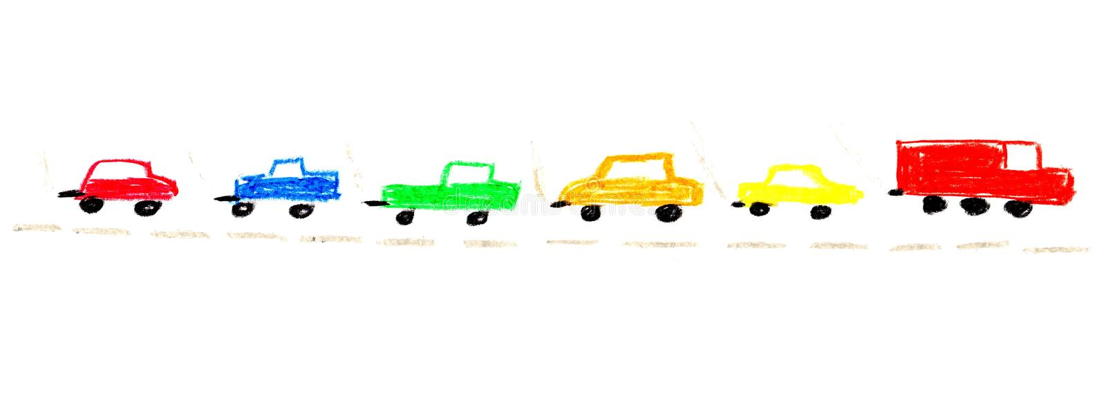 Painting of isolated colorful cars. Simple isolated childrens painting of colorful cars on a street vector illustration