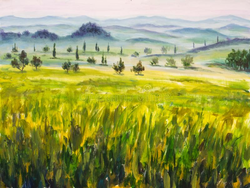 Painting with italian country landscape. Typical tuscan hills with cypress and farmland. Hand drawn illustration. royalty free stock photo
