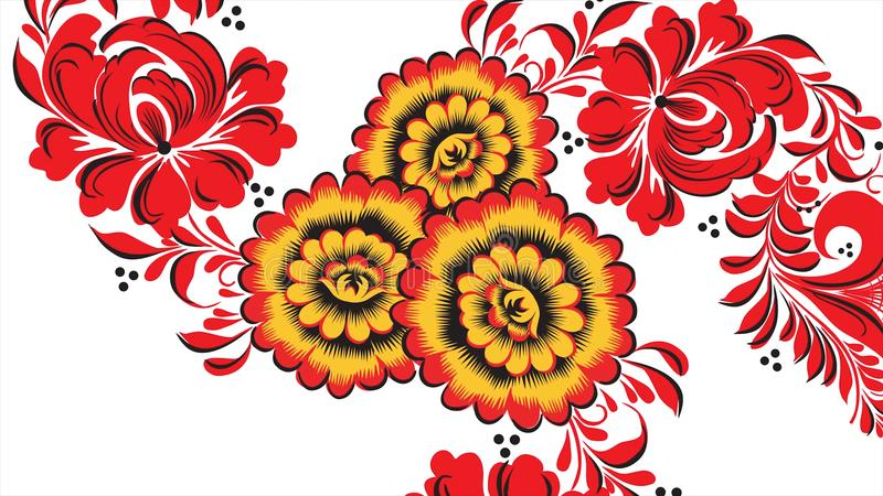 Painting Khokhloma Russia of bright red flowers and berries on white background. Abstract fractal transformation vector illustration