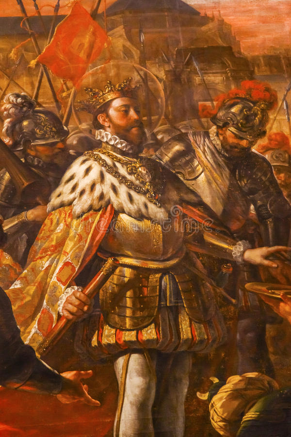 Painting King Ferdinand III Castile Mezquita Cordoba Spain. Painting King Ferdinand III of Castile Mezquita Cordoba Spain. Mezquita Created in 785 as a Mosque stock photo