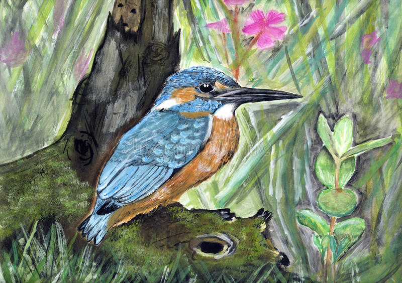 Painting of a king fisher royalty free stock photo