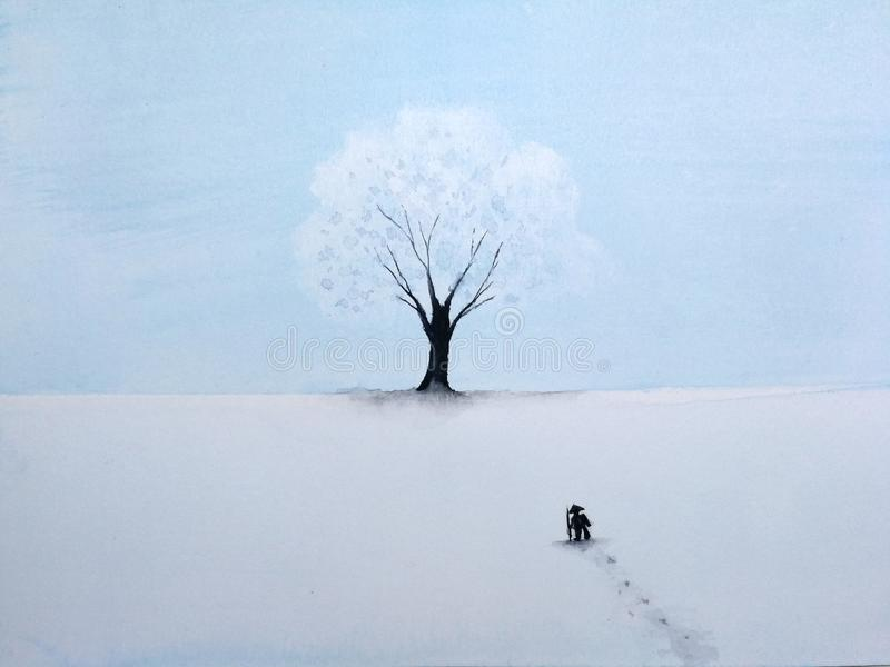 Painting landscape lonely man walking through snow to the great tree in winter season. royalty free illustration
