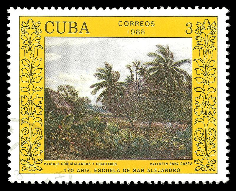 Painting Landscape by Valentin Sanz Carta. Cuba - stamp 1988: Color edition on Art, Shows Painting Landscape by Valentin Sanz Carta royalty free illustration