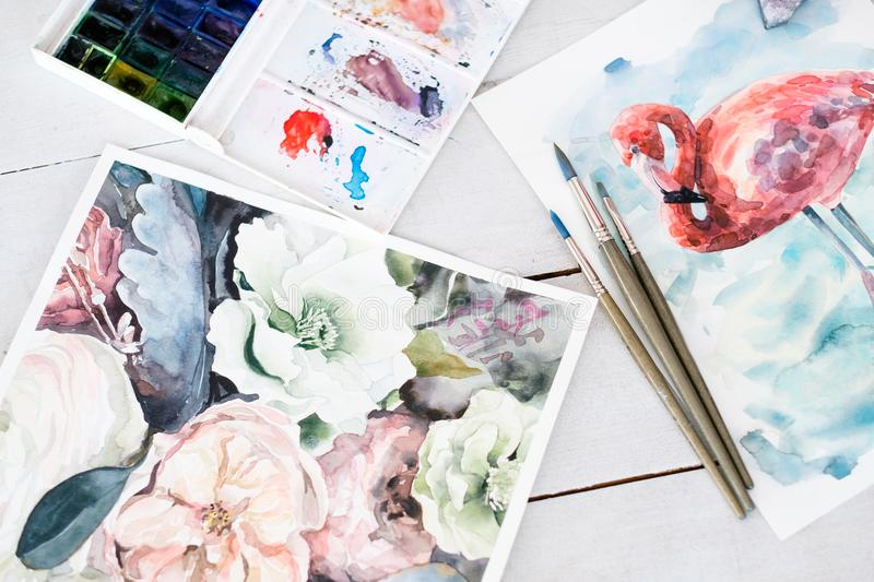 Painting lesson art class learn draw skill express. Painting lessons and art classes concept. learning to draw. skill improvement and self expression. beautiful royalty free stock photos