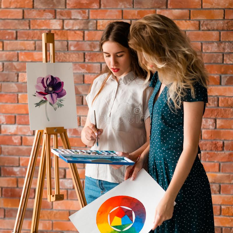 Paint lesson art class skill watercolor technique. Painting lessons and art classes. learning to draw. skill improvement and watercolor technique mastering stock photos