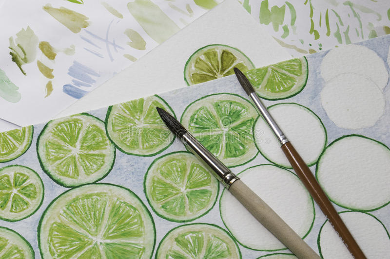 Painting limes royalty free stock photography