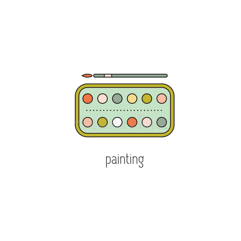 Painting line icon royalty free illustration