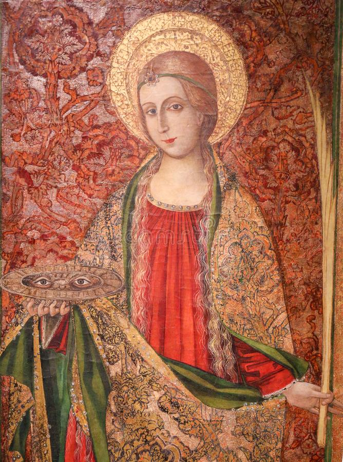 Saint Lucia or Lucy - Painting in Valencia stock images