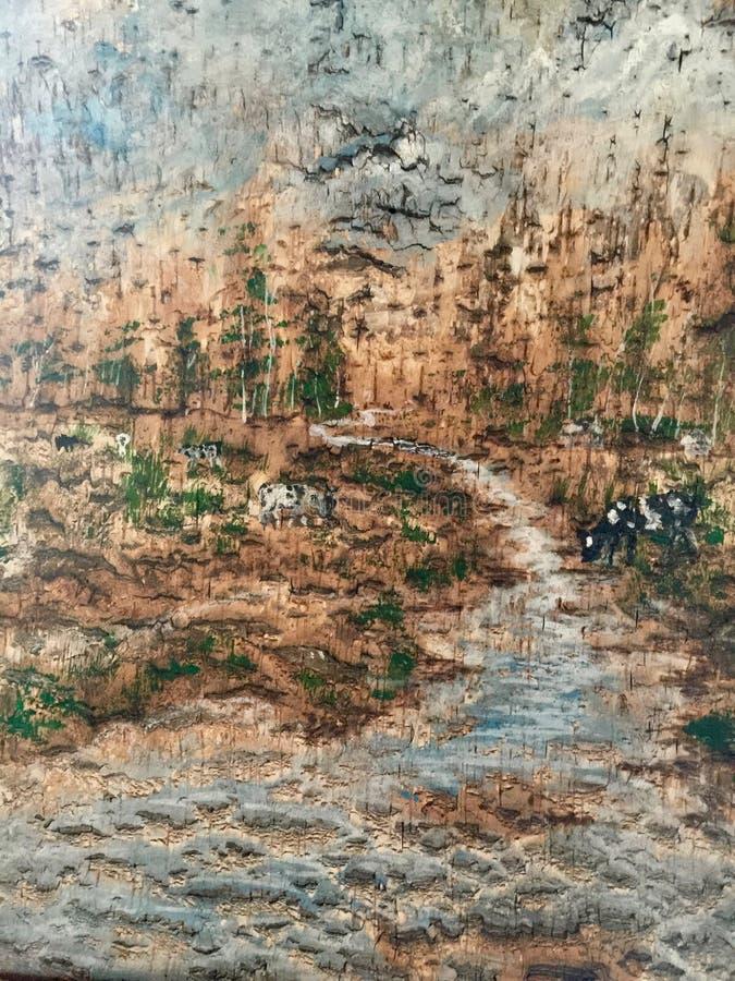 Painting made on birch bark. Handicraft Painting on birch bark royalty free stock photos