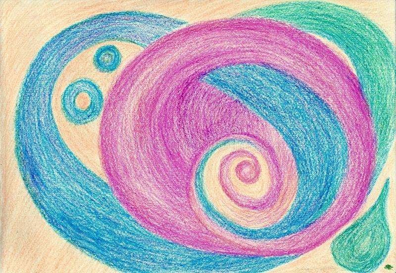 Symbiosis of color spirals stock photo