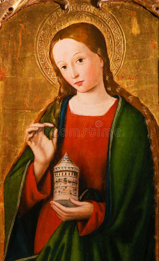 Painting of Mary Magdalene. On the Altarpiece of St Nicolas & x28;1500& x29; in the Cathedral of Monaco royalty free stock photo