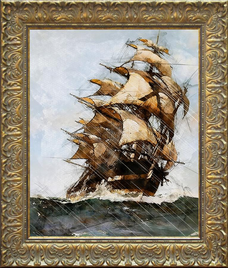 Painting of a medieval ship sailing during storm at sea, painting in a antique golden frame royalty free illustration