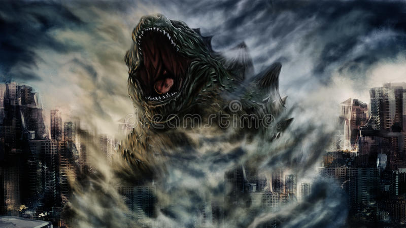 Painting monster. Hand illustrations big monster in city stock illustration