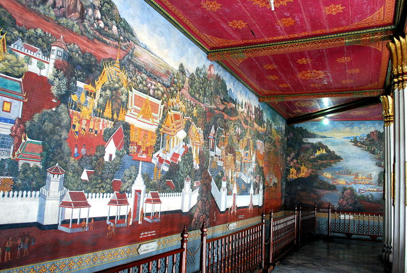 Painting Mural of Grand Palace stock images