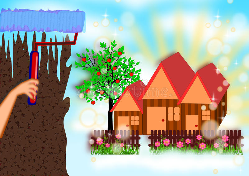 Painting the new dream house vector illustration