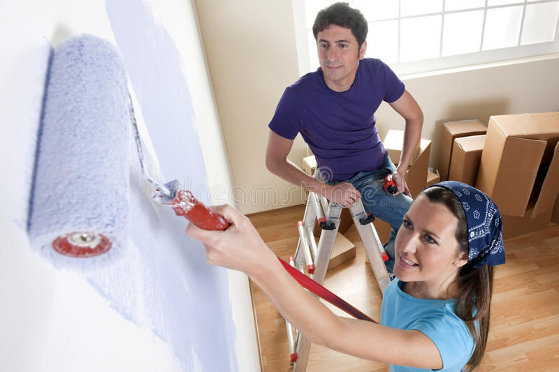 Download Painting the New Home stock image. Image of horizontal - 17246429