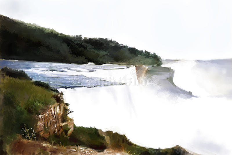 Painting of Niagara Falls vector illustration