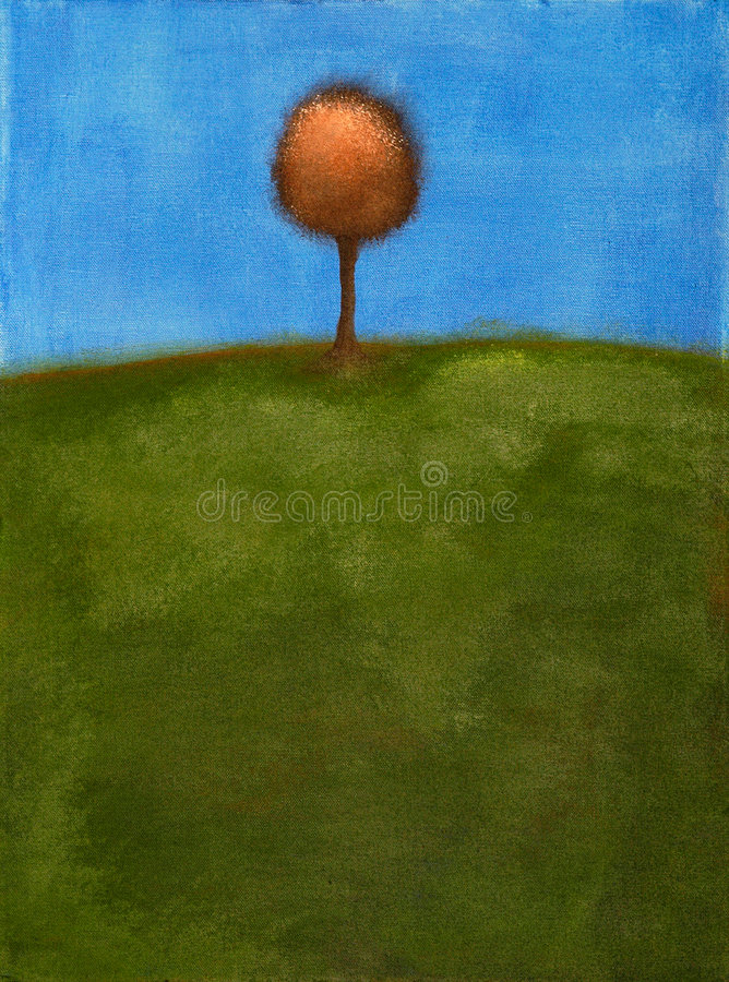 Free Painting Of Tree & Green Field Stock Photo - 2794040