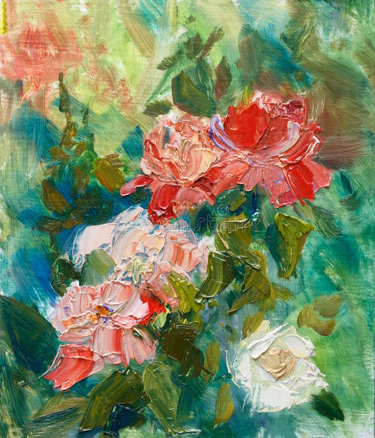 Painting oil on cardboard. `Blossom roses in the garden.` royalty free stock photos
