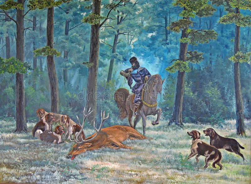 Painting oil. Hunting for a deer with hounds in an oak grove. Rider horse Hunting horn. Horns. horse vector illustration
