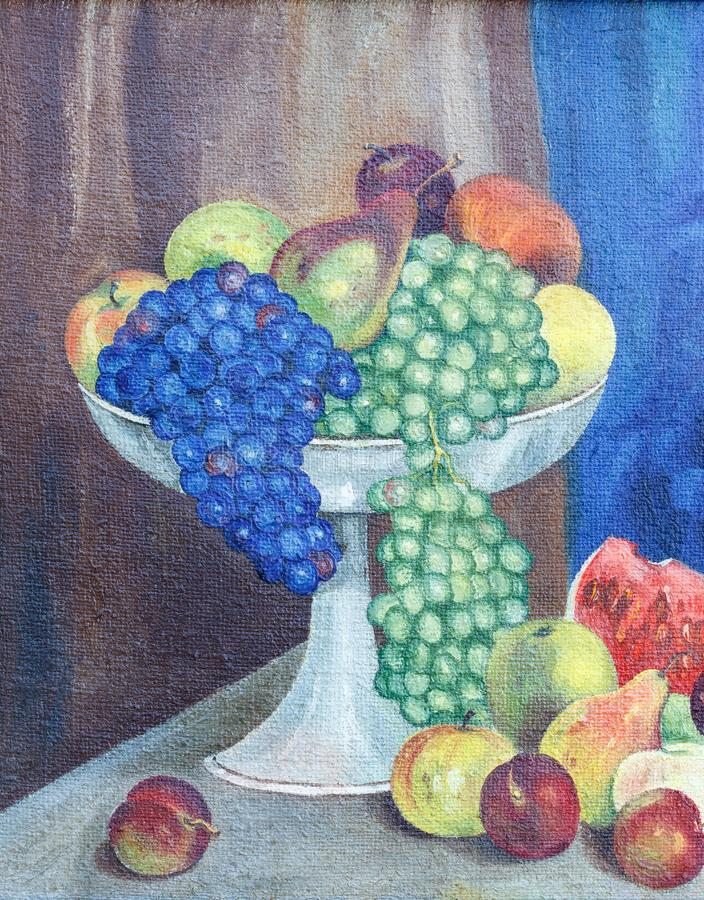 Painting oil on rough canvas. Still life with fruits and vegetables stock photos