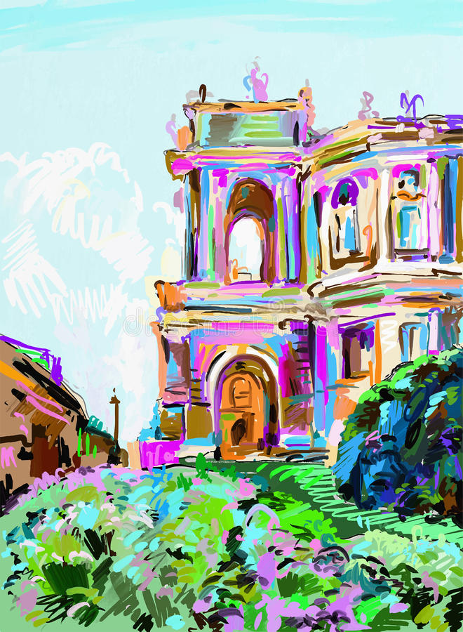 Painting of opera theater, Odessa, Ukraine vector illustration