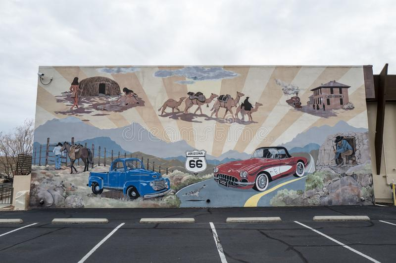 Painting outside the Mohave Museum of History and Arts in Kingman. Arizona, America, 8th, March, 2018. Painting outside the Mohave Museum of History and Arts in royalty free stock photo