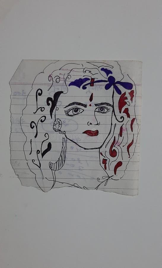 Painting on paper. Painting, art, beautiful, women, makeup stock photo