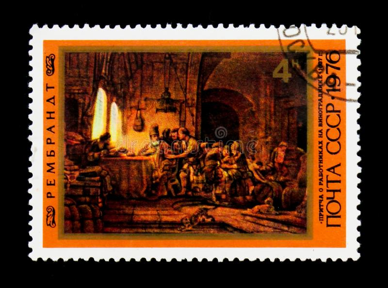 Painting `The parable of the Labourers in the Vineyard` by Rembrandt, circa 1976. MOSCOW, RUSSIA - JUNE 26, 2017: A stamp printed in USSR Russia shows a painting royalty free stock photo