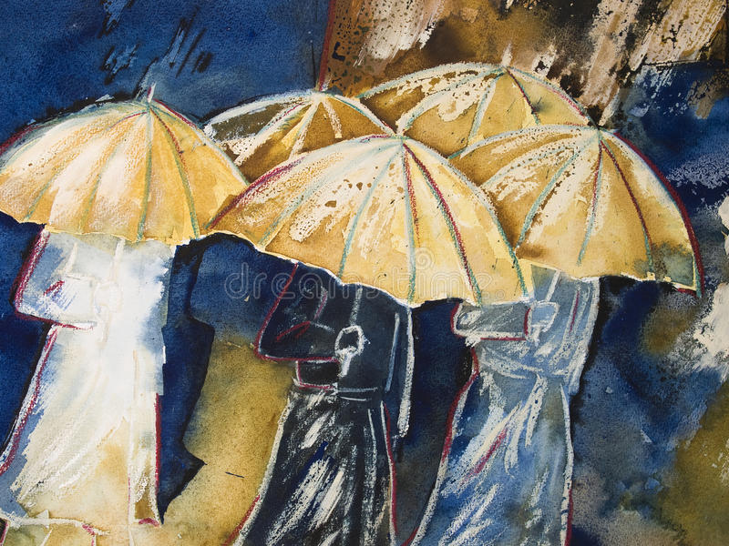 Painting of people with umbrellas. Painting in watercolor and wax-crayon on paper of people in raincoats walking in the rain, holding an umbrella