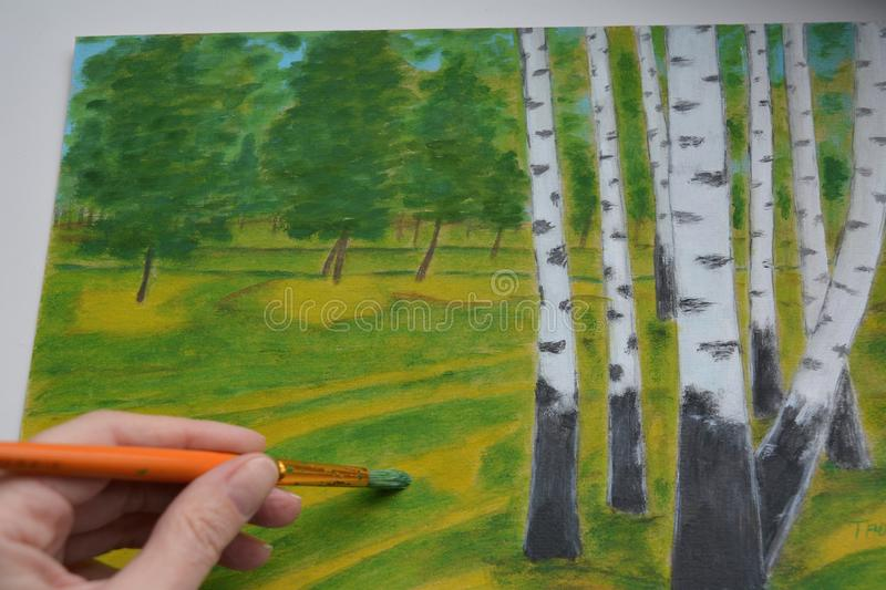 Painting picture nature landscape birches in the hand white background stock photo