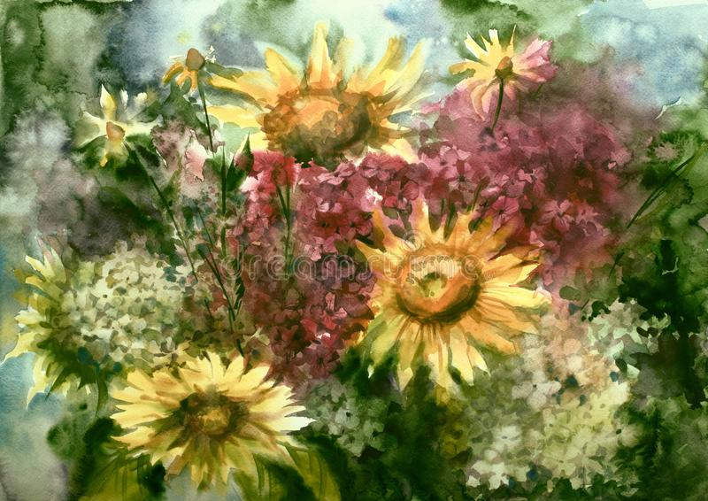 Watercolor painting picture drawing of bouquet flowers. Painting picture watercolor. bouquet still life, sunflowers and hydrangeas royalty free illustration
