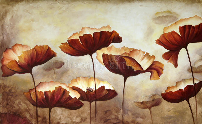 Painting poppies. Painting of poppies in acrylic on canvas