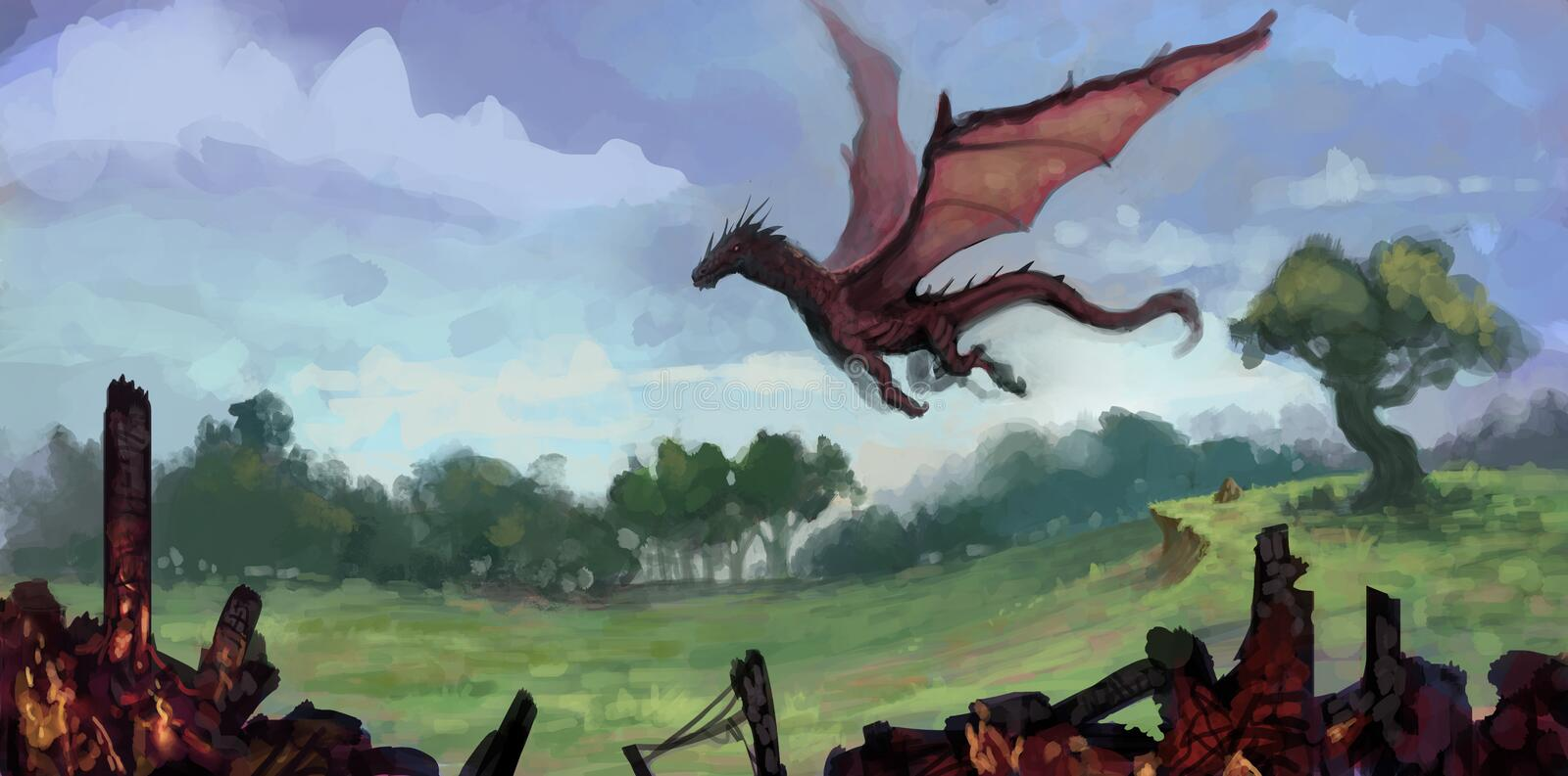 Painting of red dragon flying over a lush green field with charred building remains in foreground - digital fantasy art. Painting of red dragon flying over a vector illustration