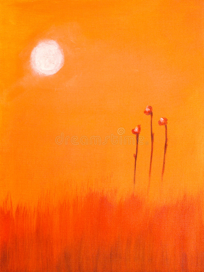 Painting of a red flower and t royalty free stock photography