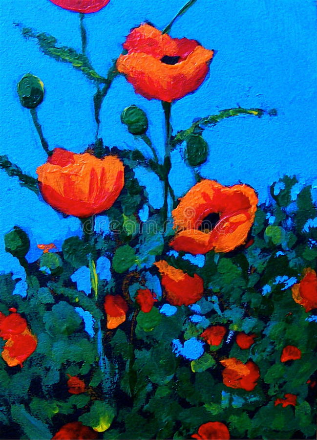 Download Painting Of Red Poppies, Impressionism Stock Illustration - Image: 19838324