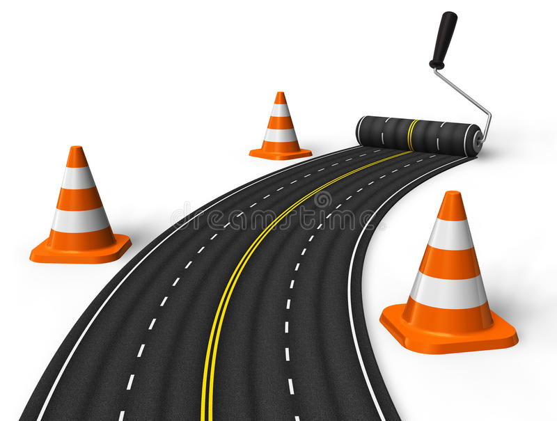 Painting the road with roller brush vector illustration