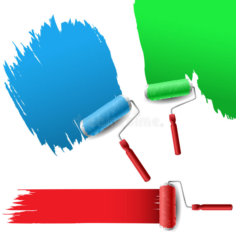 Painting roller set for text background royalty free illustration