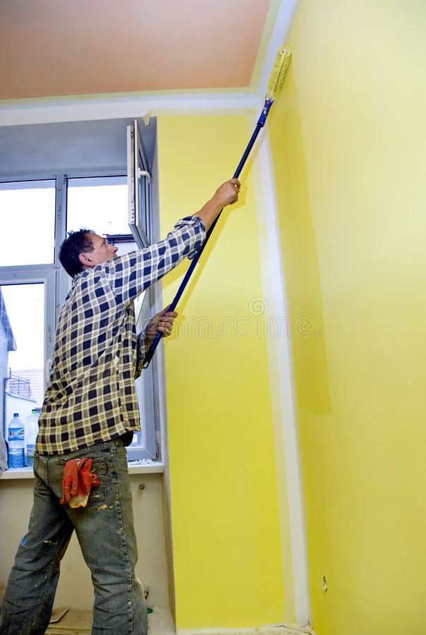 Painting room in yellow stock photography