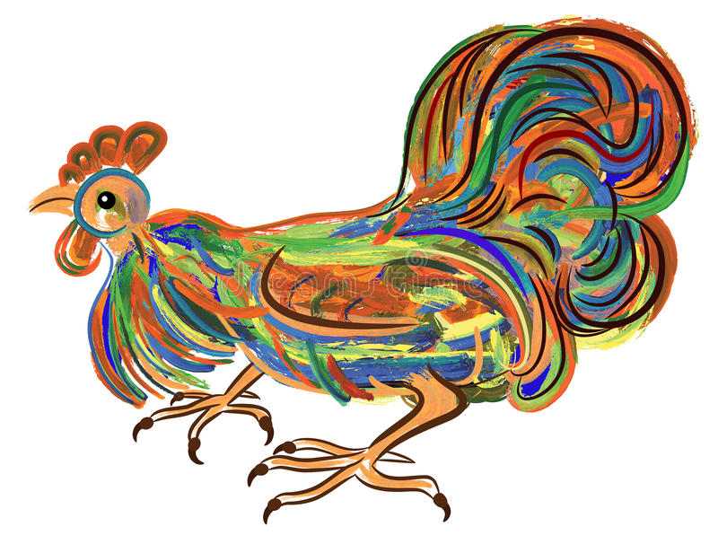Painting of a rooster - symbol of Chinese New Year. Expressive painting of a rooster - a symbol of Chinese New Year royalty free illustration